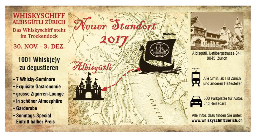 Flyer Whiskyschiff Zürich Altisgütli vom 30., November bis 3. Deuzember 2017
